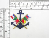 "Anchor with Nautical Flags Iron On Embroidered Applique    Measures 1 7/8"" across x 1 3/4"" high"