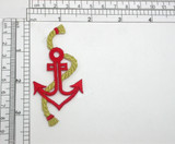 Anchor with Rope Blue Embroidered iron On Applique