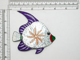 "Fish Large Fin Holographic Iron On Patch Applique  Measures 3 7/8"" high x 3 3/8"" wide approx as pictured"