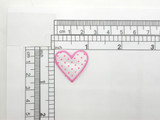 Heart Patch Pink Polka Dots Embroidered  Iron On Applique