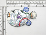 "Fish Large Holographic Iron On Patch Applique  Measures 2 1/2"" high x 4"" wide approx as pictured"