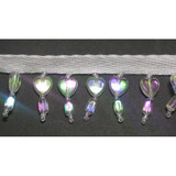 "Beaded Fringe  7/8"" Opalescent Hearts"
