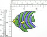 "Angel Fish Blue & Green Stripes Iron On Patch Applique  Fully Embroidered  Measures 2"" across x 1 1/2"" high"