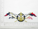 "Anchor & Flag Patch Embroidered Iron On Applique 2 1/4"" x 6 3/4"" Fully Embroidered"