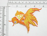 "Gold Fantail Fish Iron On Patch Applique   Measures 4"" across x 3"" high"