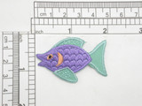 """Tropical Fish Purple & Seafoam Iron On Patch Applique  Texture Embroidery Measures 1 3/4"""" across x 1 1/4"""" high"""