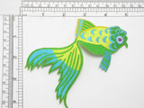 "Fantail Fish Large Green Yellow Iron On Patch Applique  Measures 4 3/4"" across x 3 1/2"" high"