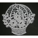 Venise Lace Applique - Flower Basket White
