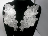 """Bridal Appliques Embroidered L&R Ivory 9 1/2"""" x 4"""" pair"""