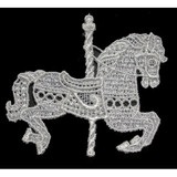 Venise Lace Applique - Carousel Horse Off White Sew On