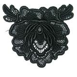 Venise Lace Applique - Flower Black