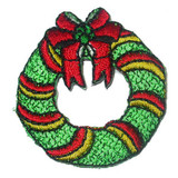 Christmas Garland Sparkly Wreath Iron On Patch Applique