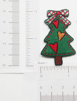 "Christmas Tree Rustic Heart Iron On Patch Applique 2"" x 1 1/4"""