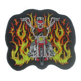 Biker Patch Skeleton Rider Large