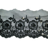 "Sheer 4 1/2"" Black Rose Sequinned Scallop Trim"