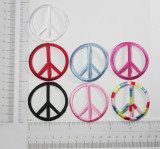 """Iron On Patch Applique - Peace Sign 2"""" *Colors* Measures 2"""" across x 2"""" high  Fully Embroidered with rayon threads & hollow carved"""