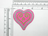 """Pink Heart Patch 2 1/8"""" Embroidered Iron On Applique"""