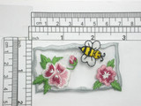 """Bee & Flowers Patch Iron On Embroidered Applique 2 7/8"""" x 1 5/8"""""""