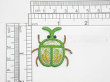 "Beetle Patch Green Sparkle Iron On Embroidered Applique 1 7/16"" x 1 7/16"""