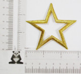 """Open Star 3"""" Iron On (76mm) Metallic Gold Embroidered Patch Applique"""