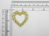 Heart Open Gold & Silver Metallic Embroidered Iron On Applique