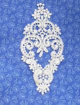 "Venise Lace Applique - 5 1/2"" tall x 3"" wide  (140mm x 76mm) White"