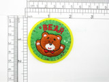 """Bear Circle Patch Embroidered iron On Applique 2 1/8"""" x 2 1/8"""""""