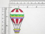 "Hot Air Balloon Red/White Iron On Patch Applique   Fully Embroidered  Measures 2 5/8"" tall x 1 9/16"" across"