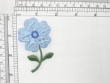 """Blue Flower Applique Embroidered  Iron On Patch 2 7/8"""" x 1 3/4"""""""