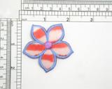 "Flower Furry Stripes Iron On Patch Applique Measures 2 1/8"" across"