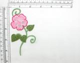 "Pink Flower Spray Iron On Embroidered Applique 4 5/8""x  2 1/4"""