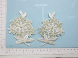 Beaded Bridal Flower Spray Pair Off White & Metallic Gold Iron On Patch Applique -