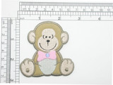 """Monkey Patch Nursery Iron on Embroidered Applique  Measures 2 5/8"""" high x 2 5/8"""" wide approximately"""