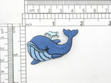 "Blue Whale Iron On Embroidered Applique Measures 1 7/8"" across x 1 1/2"" high approx"