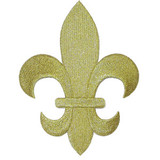 "Fleur De Lys Gold Embroidered Iron On Patch Applique 5 7/8"" tall"