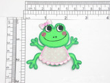 """Frog Patch with Pink Bib Iron On Embroidered Applique 2 3/8"""" x 2 5/8"""""""