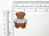 """Bear Patch Stripe Shirt Iron On Embroidered Applique 1 1/8"""" x 1 1/2"""""""