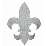 "Fleur De Lys Silver Embroidered Iron On Patch Applique 5 7/8"" tall"