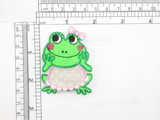 """Frog Patch with Bib & Bow  On Embroidered Applique 2 3/8"""" x 1 3/4"""""""