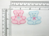 """Terry Baby Bear Patch Iron On Embroidered Applique 1 1/2"""" x 1 3/8"""" Blue or Pink"""