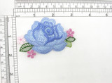 """Blue Rose Iron On  Floral Spray Cottage Garden Embroidered Patch Applique Measures 3 1/8"""" x 2"""""""