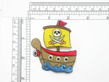 """Pirate Ship Patch Embroidered Iron On Applique 2 3/8 x 2 5/8"""""""
