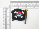 "Pirates Flag Patch Jolly Roger Flag Large Iron On Embroidered Applique -    Measures 2 1/8"" x 2"""