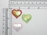"""Heart Patch Sparkle Holographic Iron On Applique 1"""" (25mm)"""