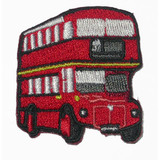 """Red Double Decker Bus Patch Iron On Embroidered  Applique - 1 1/2"""" across  Measures 1 1/2"""" across x 1 11/16"""" high"""
