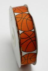 "Grosgrain Ribbon 7/8"" Basketball 25 Yard Roll"