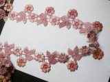 """Venise Lace 2 3/16"""" (91mm) Flower Pink - Rouge Variegated 3 yards"""