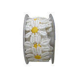 """Venise Lace 1"""" Off White & Yellow Daisy 4 ft Roll"""
