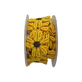 """Venise Lace 1"""" Yellow & Brown Daisy 4 ft Roll"""