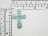 """Cross Sparkly Blue & Silver Iron On Patch Applique Measures 1 5/8"""" tall x 1 1/4"""" wide"""